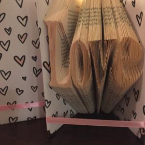 Book fold art: love