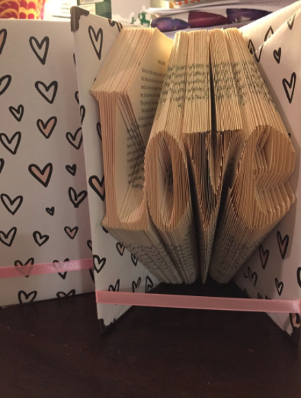 Book fold art: love