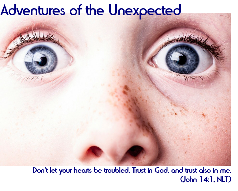 "Adventures in the Unexpected: ""Don't let your hearts be troubled. Trust in God, and trust also in me."" (John 14:1, NLT)"